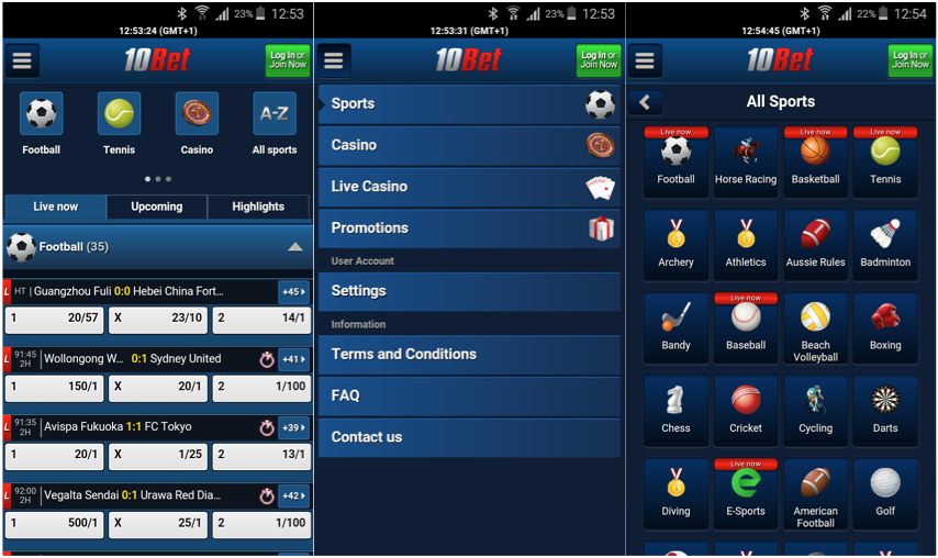 10bet has an easy to use mobile betting app
