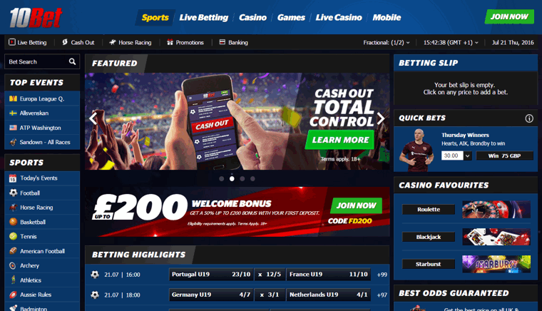 up to £200 signup bonus at 10bet