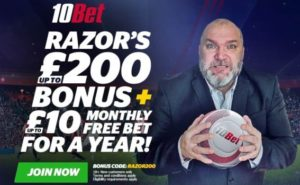 get up to £200 in bonuses and £10 free bets per month for 1 year