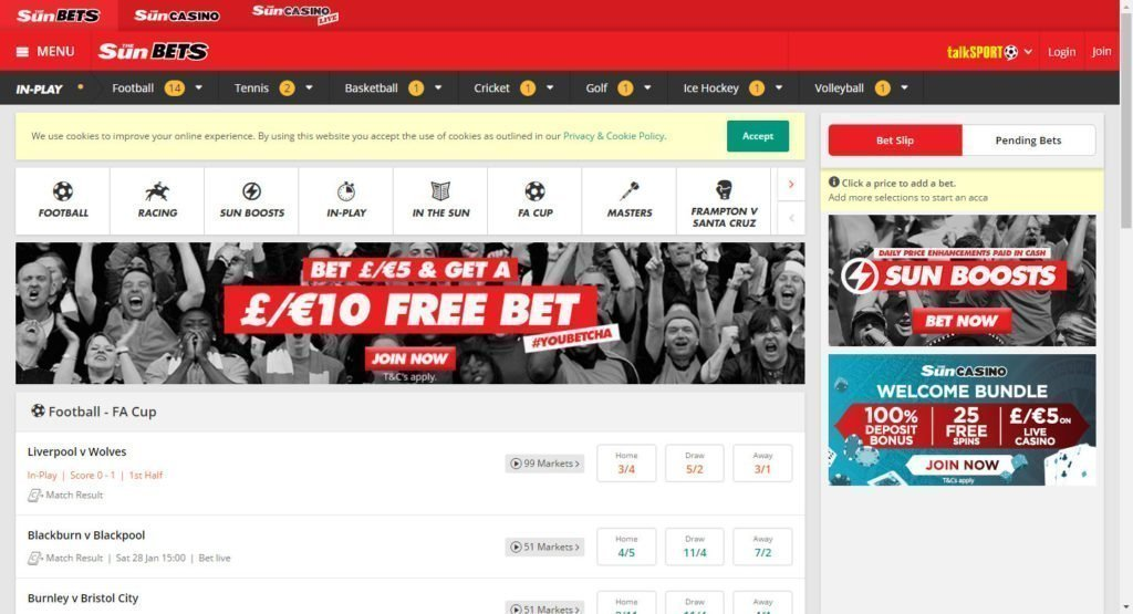 get a £10 free bet at sun bets